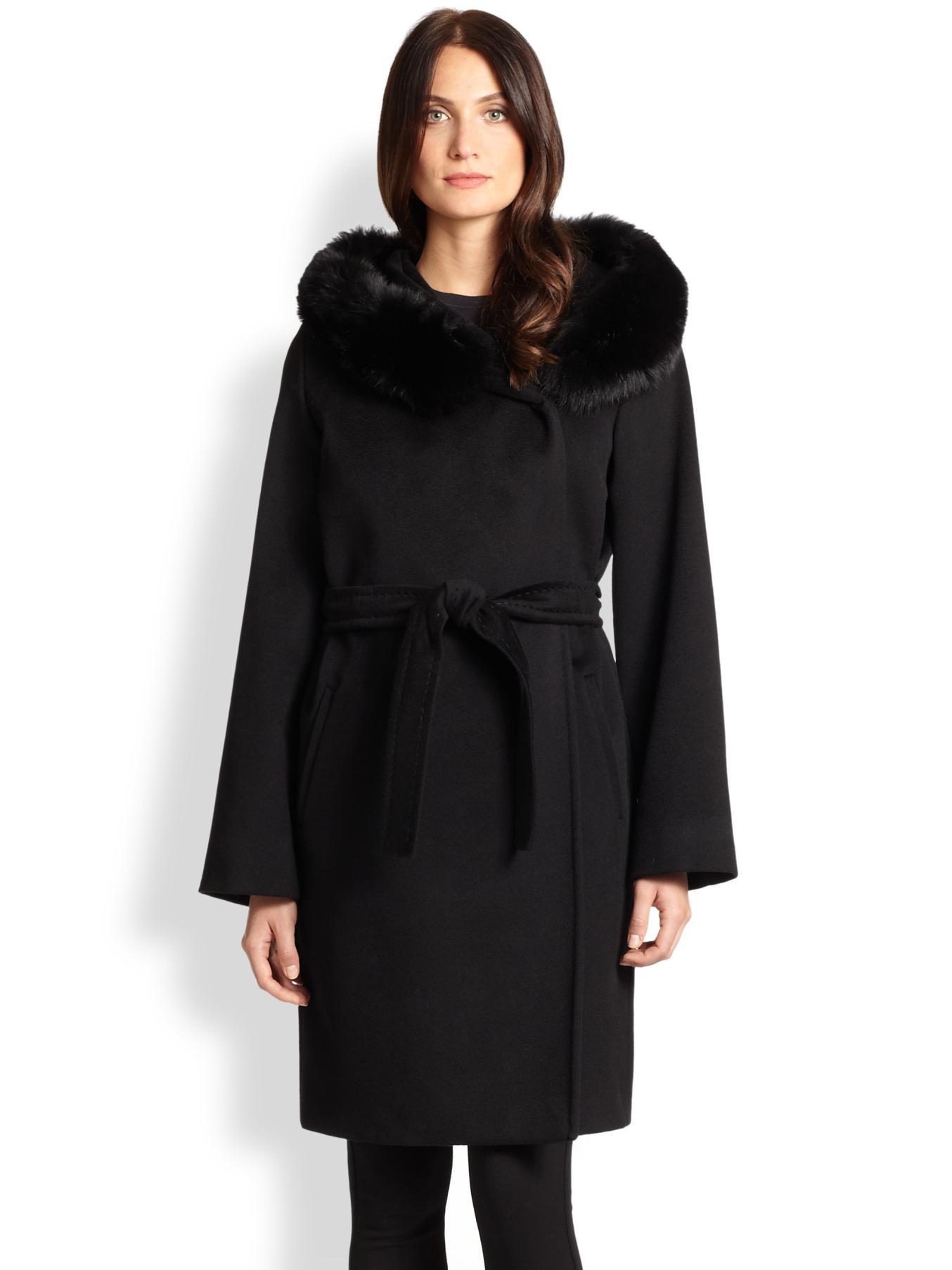 Max mara studio Fur-Trim Cashmere Wrap Coat in Black | Lyst