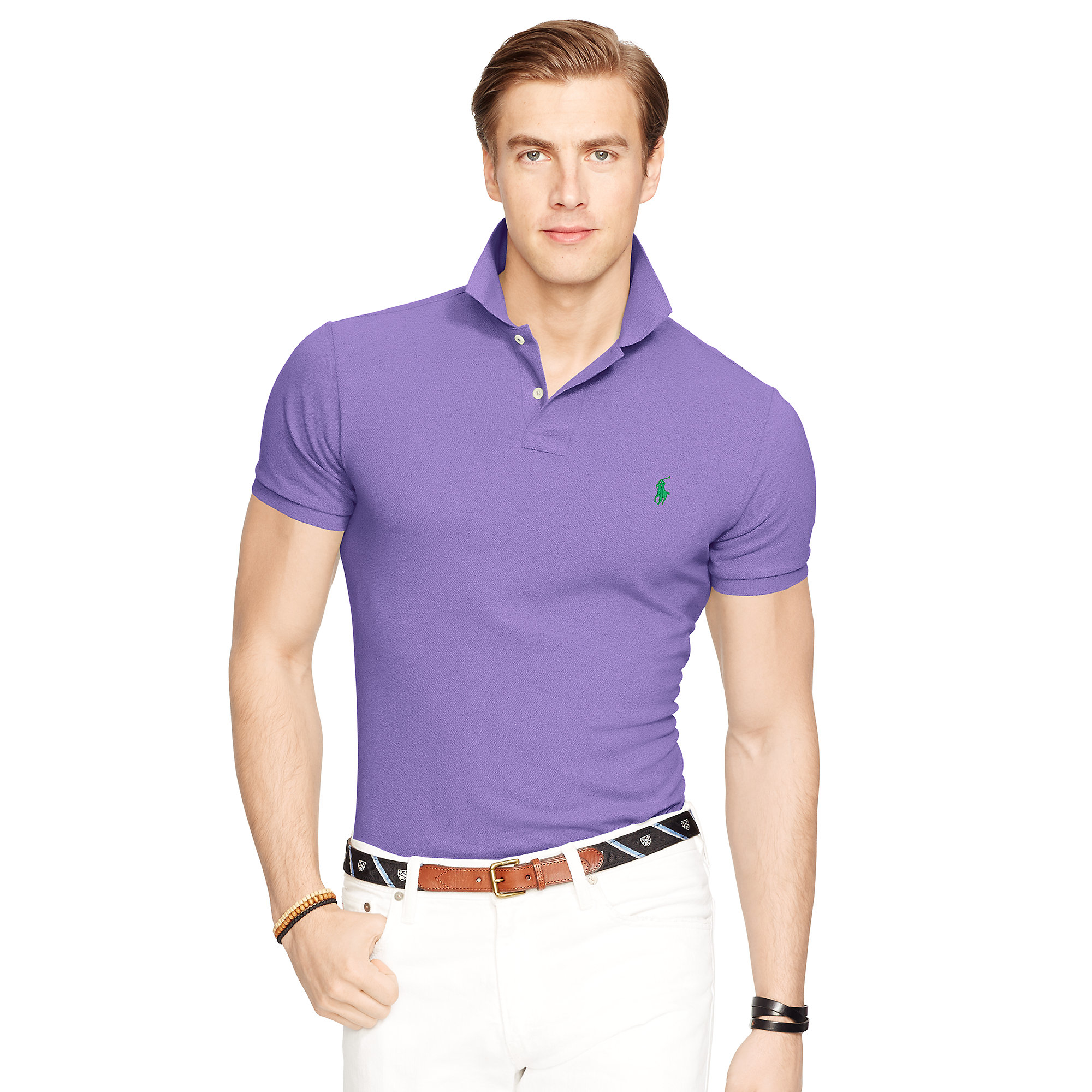 polo ralph lauren slim fit mesh polo shirt in purple for. Black Bedroom Furniture Sets. Home Design Ideas