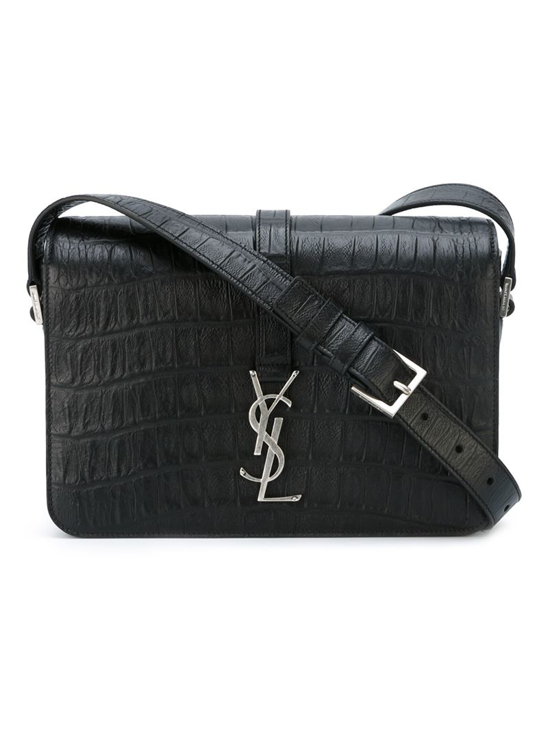lyst saint laurent medium 39 monogram 39 shoulder bag in black. Black Bedroom Furniture Sets. Home Design Ideas