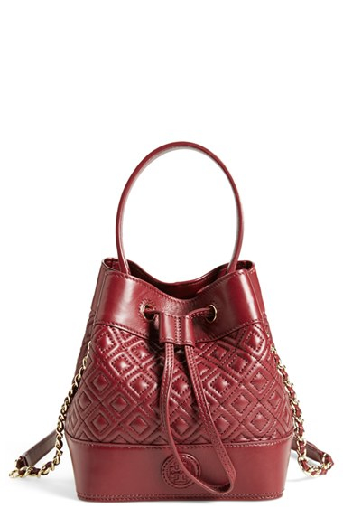 Tory Burch Mini Marion Quilted Lambskin Bucket Bag In