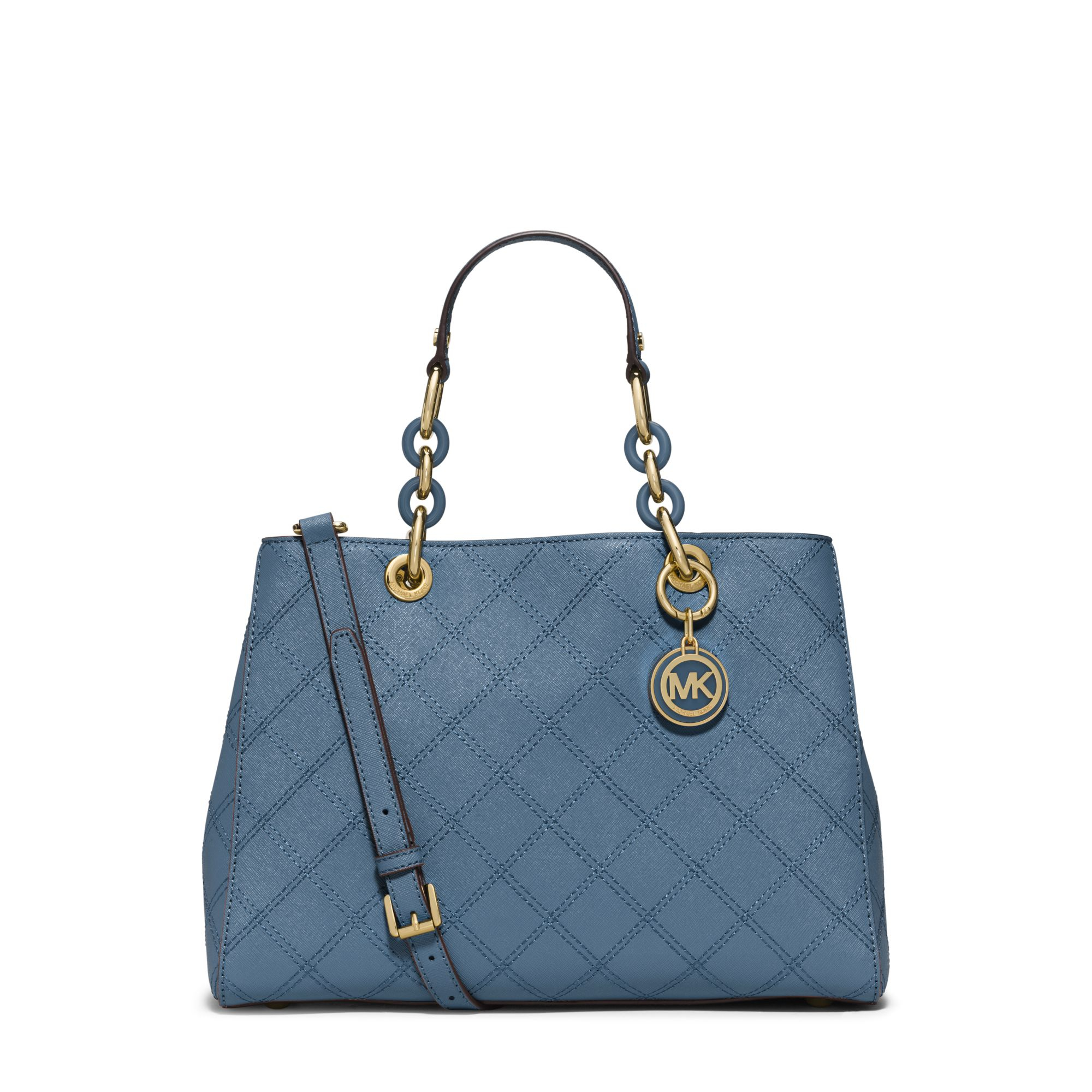f2f45c5e7fab Lyst - Michael Kors Cynthia Medium Quilted-leather Satchel in Blue