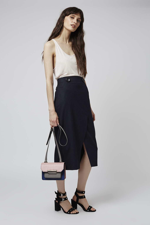 topshop pinstripe wrap midi skirt in blue navy blue lyst