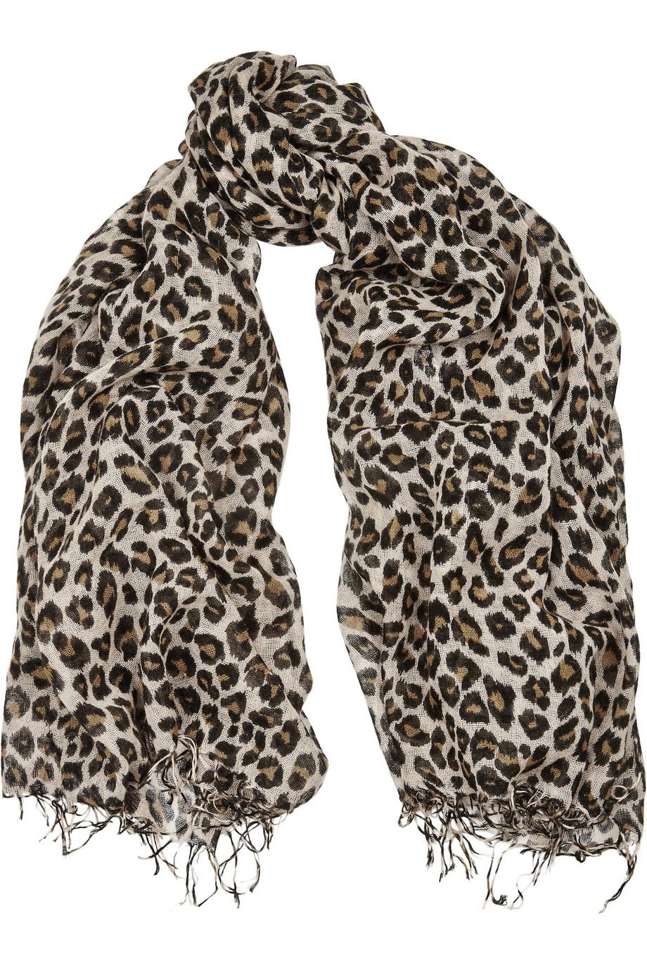 Chan luu Leopard-Print Cashmere And Silk-Blend Scarf in ...