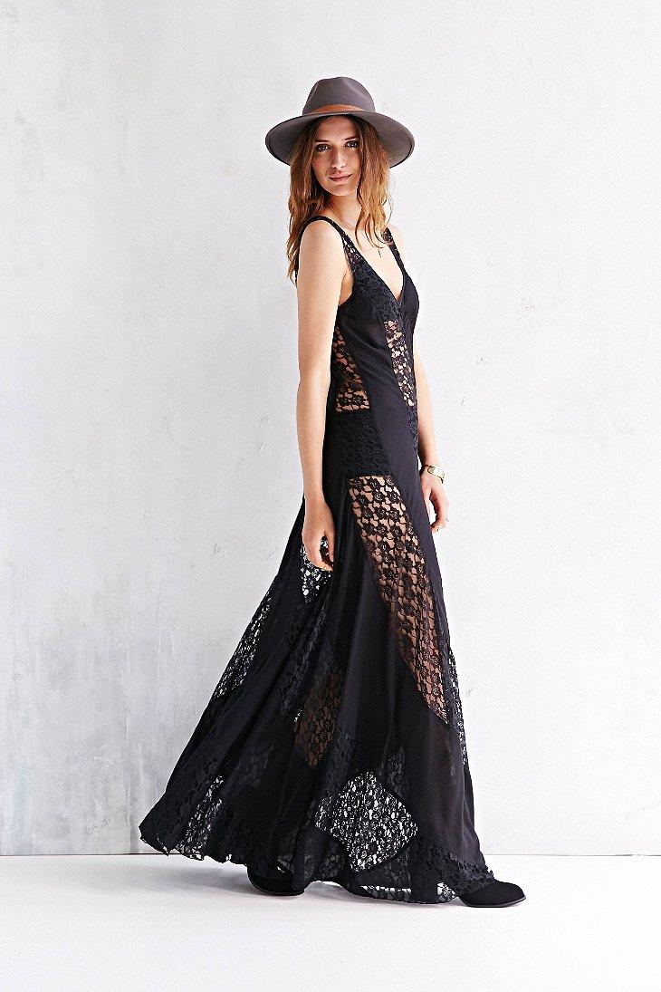Kimchi Blue Sheer Lace Stripe Maxi Dress In Black Lyst