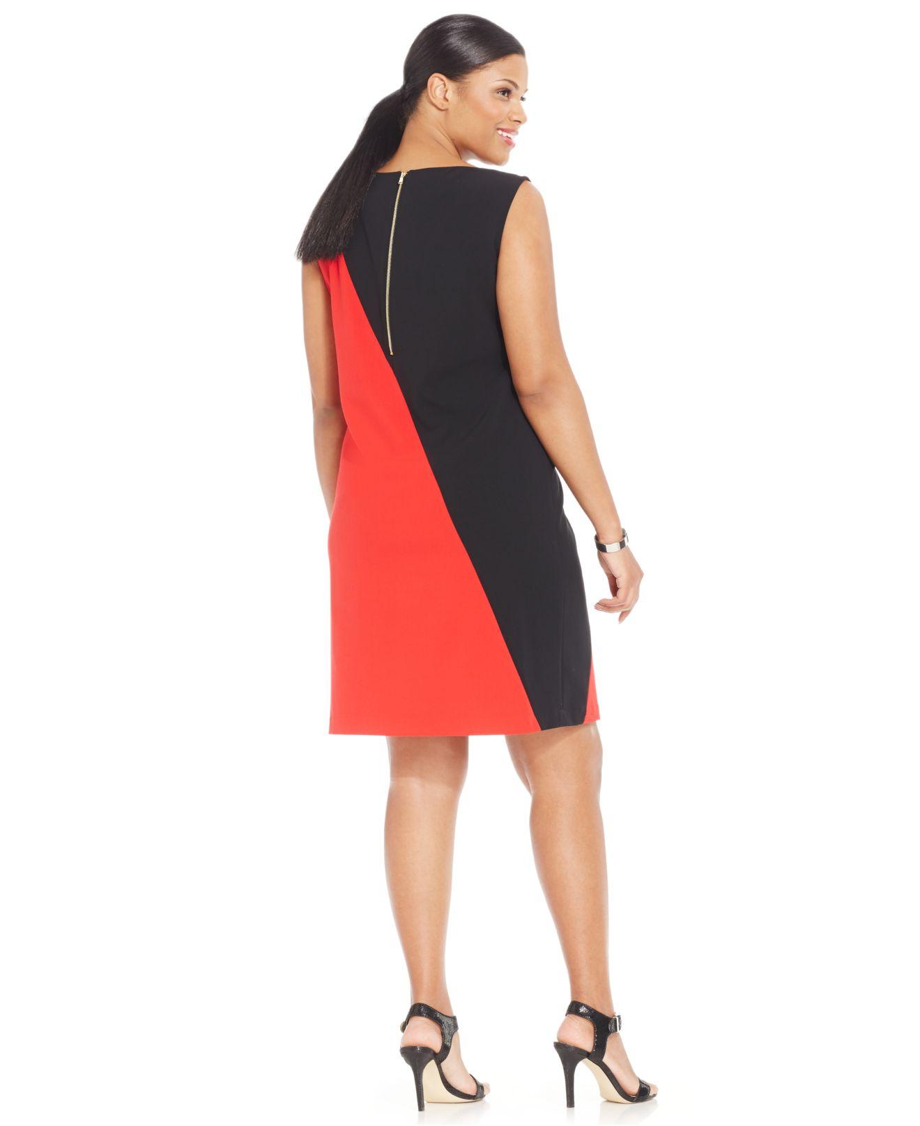 Nine West Red Plus Size Sleeveless Colorblock Sheath Dress