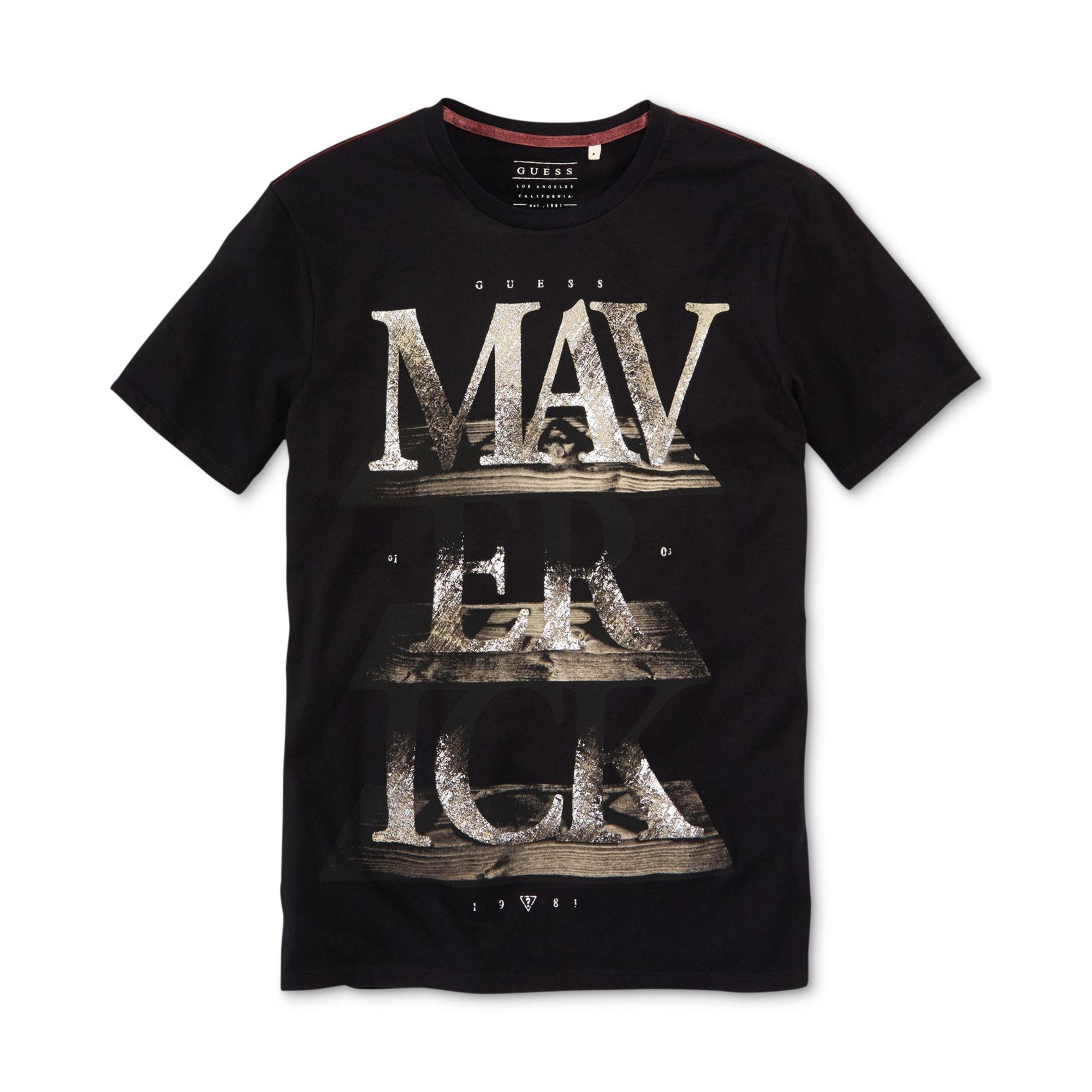 guess maverick tshirt in black for men jet black lyst. Black Bedroom Furniture Sets. Home Design Ideas