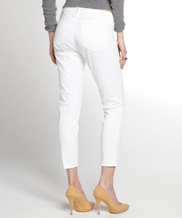 J brand White Stretch Denim Twill Romantic Skinny Capri Jeans in ...