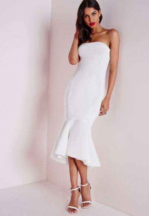 Missguided Scuba Fishtail Bodycon Dress White Lyst