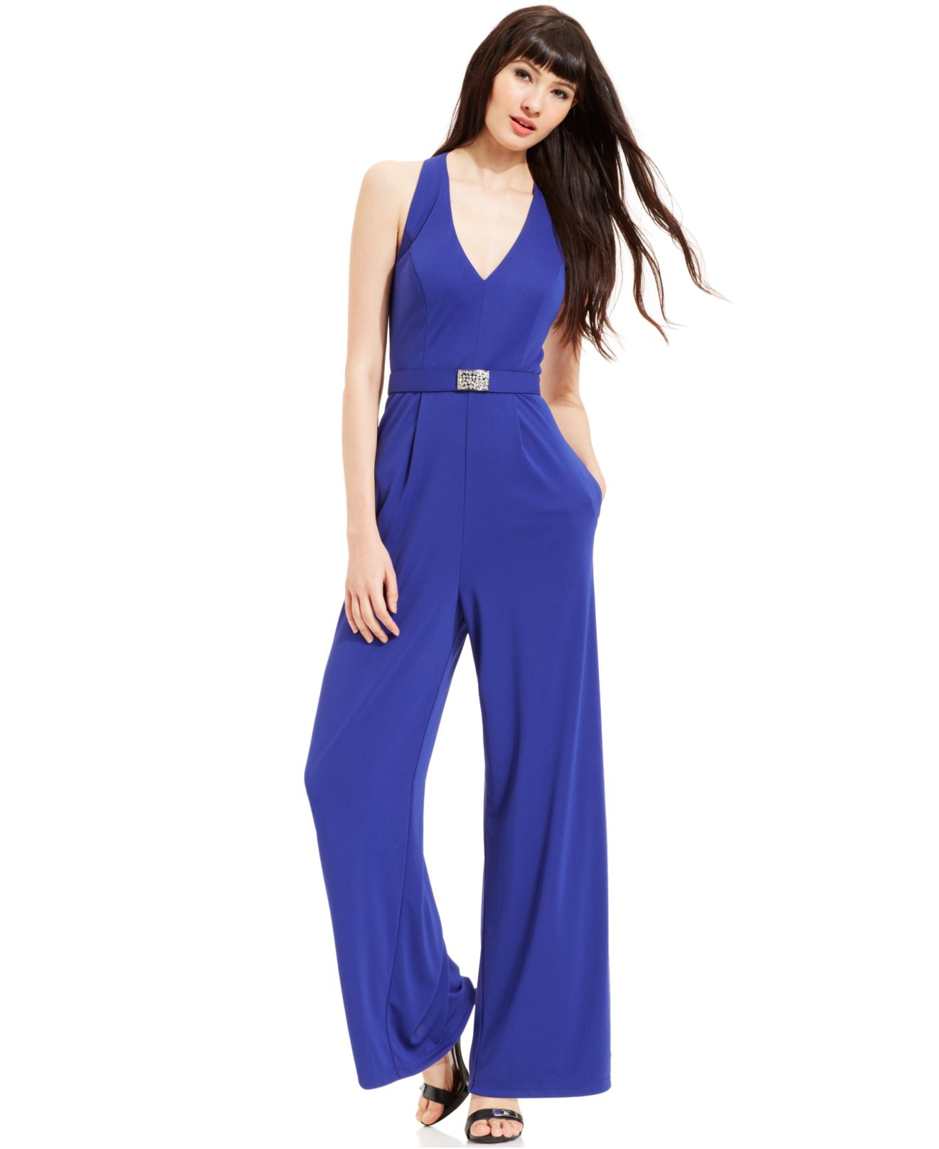 07a82d4da093f Lyst - Vince Camuto Wide-Leg Halter Jumpsuit in Blue
