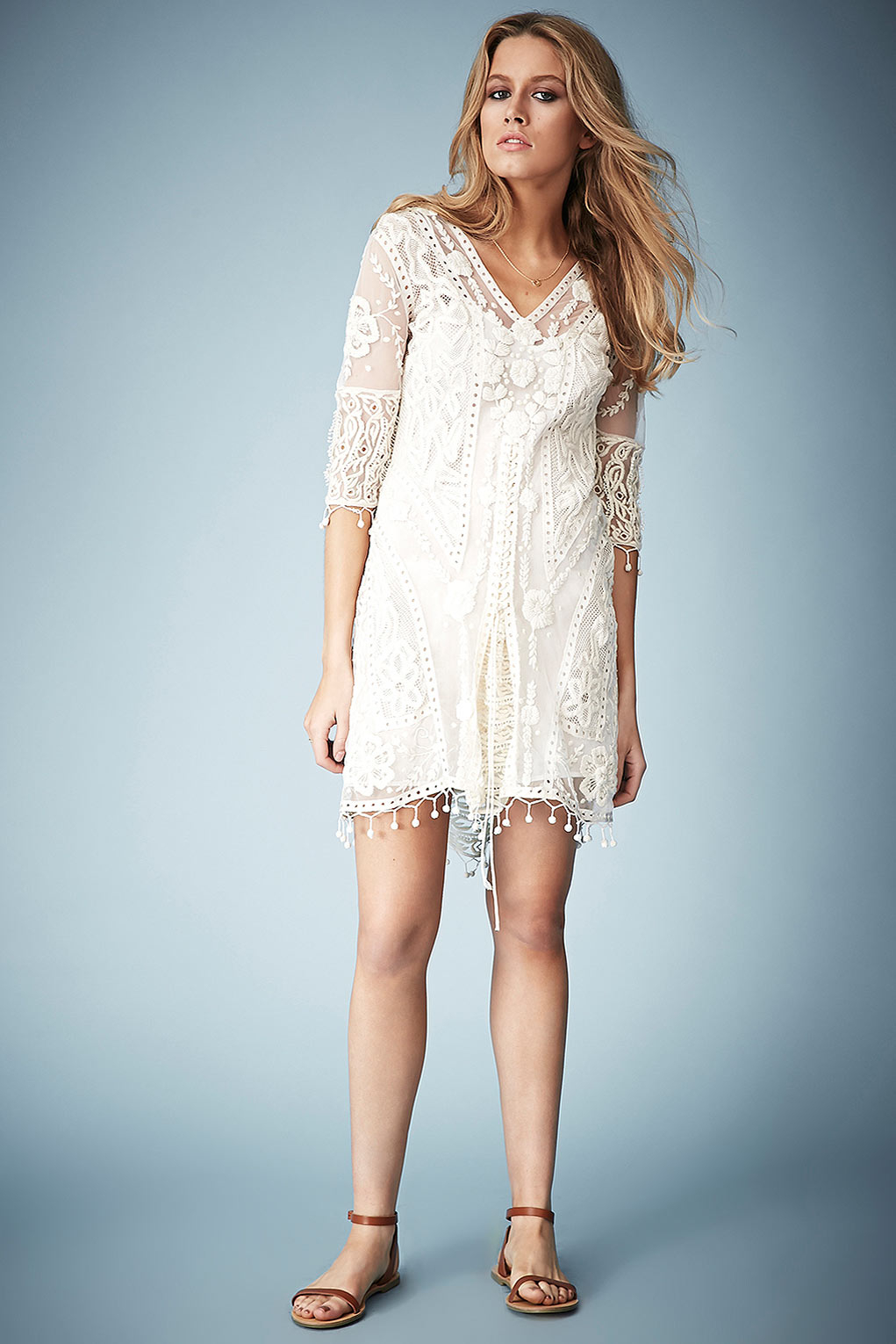 Lyst Topshop Crochet Lace Midi Dress By Kate Moss In Natural