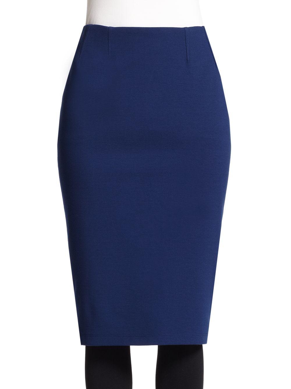 akris punto jersey pencil skirt in blue lyst