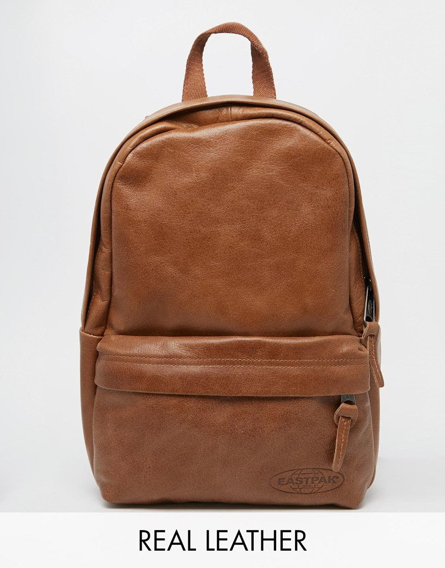 lyst eastpak leather backpack in brown