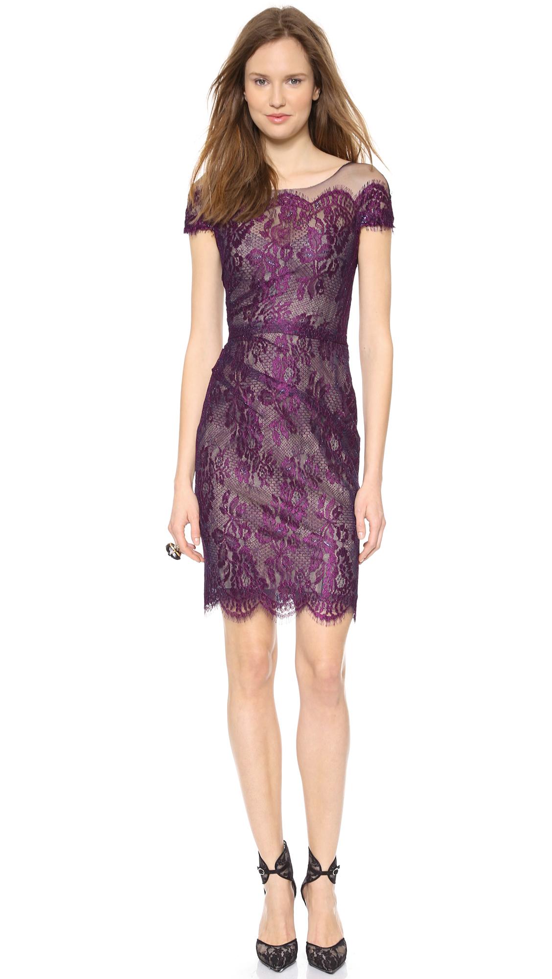Monique Lhuillier Illusion Chantilly Lace Dress Amethyst