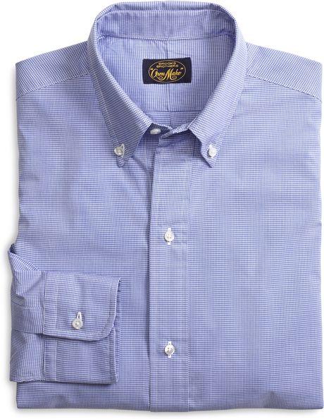 Brooks brothers own make blue mini check sport shirt in for Brooks brothers sports shirts