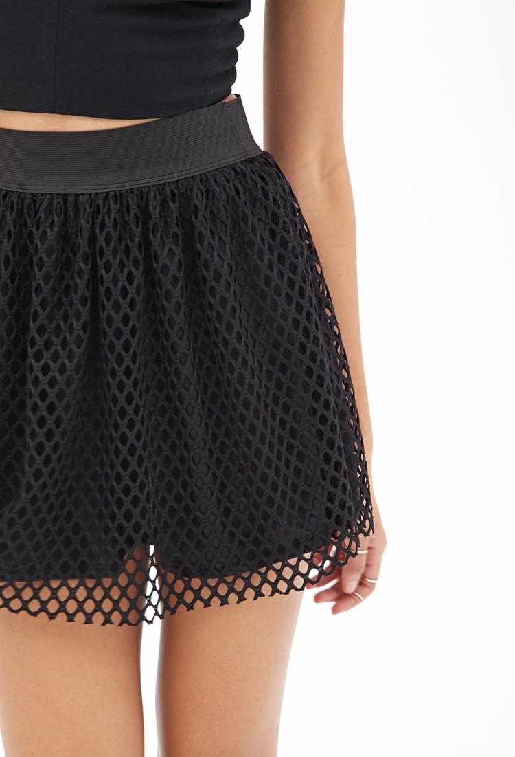 Forever 21 Synthetic Mesh Net Skater Skirt in Black Lyst