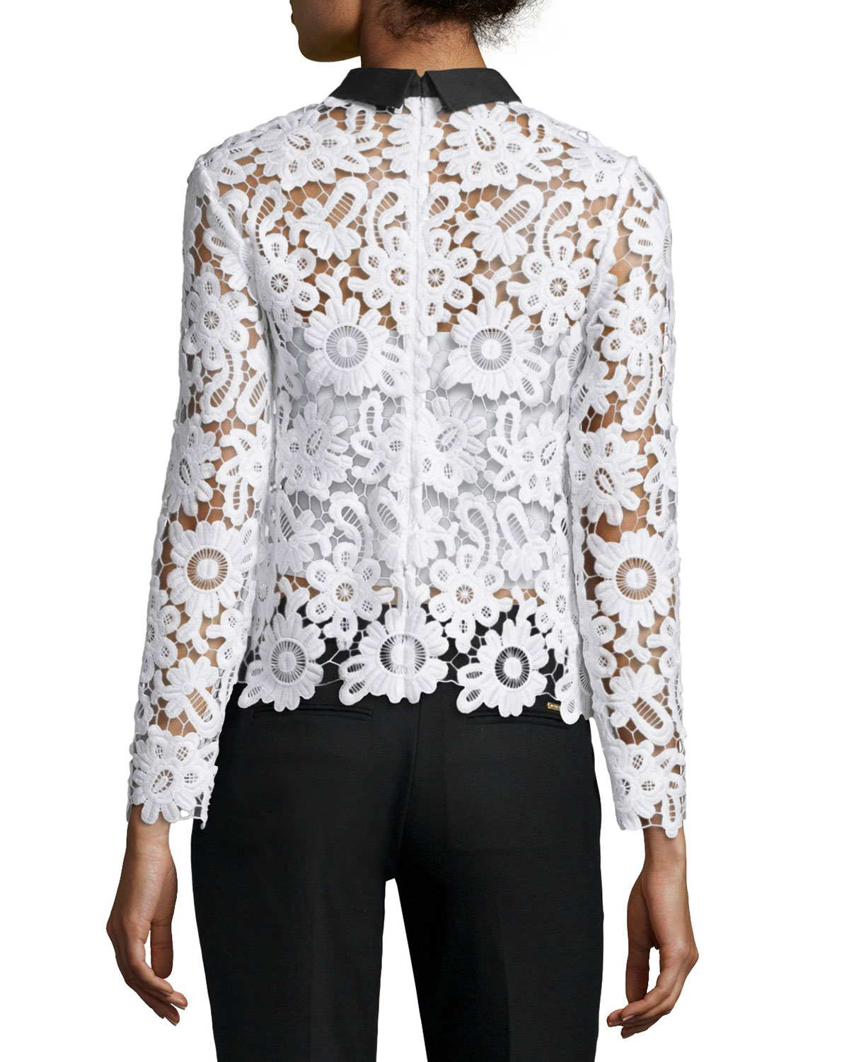 Self Portrait Long Sleeve Collared Lace Top In Black Lyst
