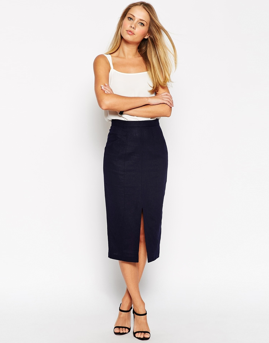 Asos Linen Split Front Pencil Skirt in Blue | Lyst