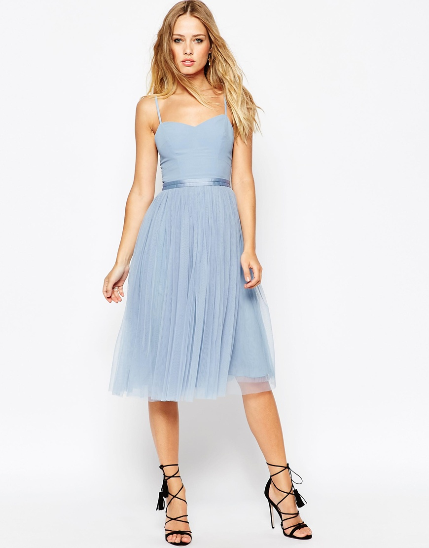 bd1e2d90676 Needle   Thread Giselle Ballet Midi Dress With Tulle Skirt in Blue ...