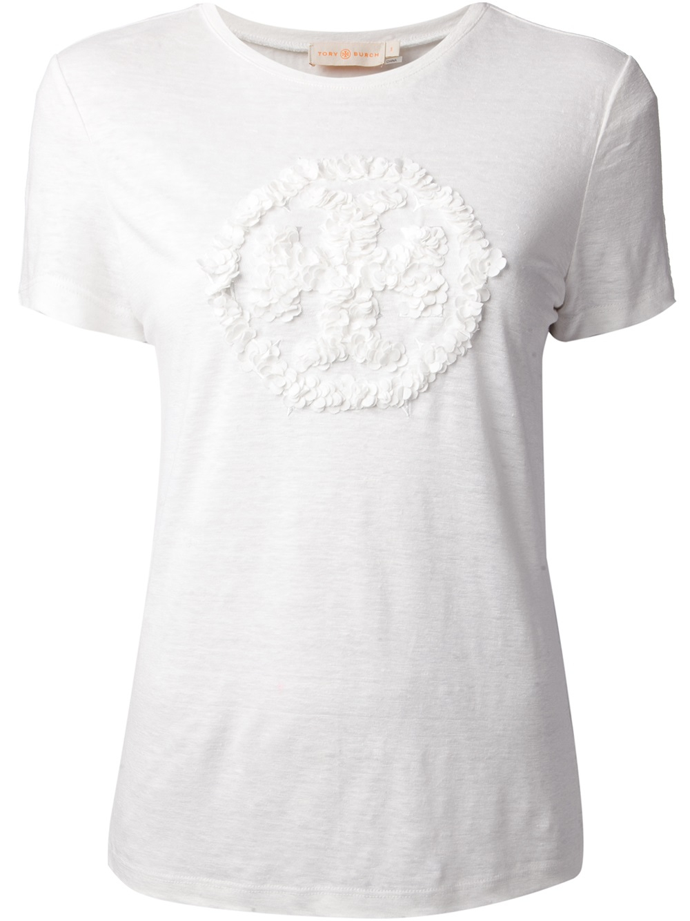 tory burch textured logo t shirt in white lyst