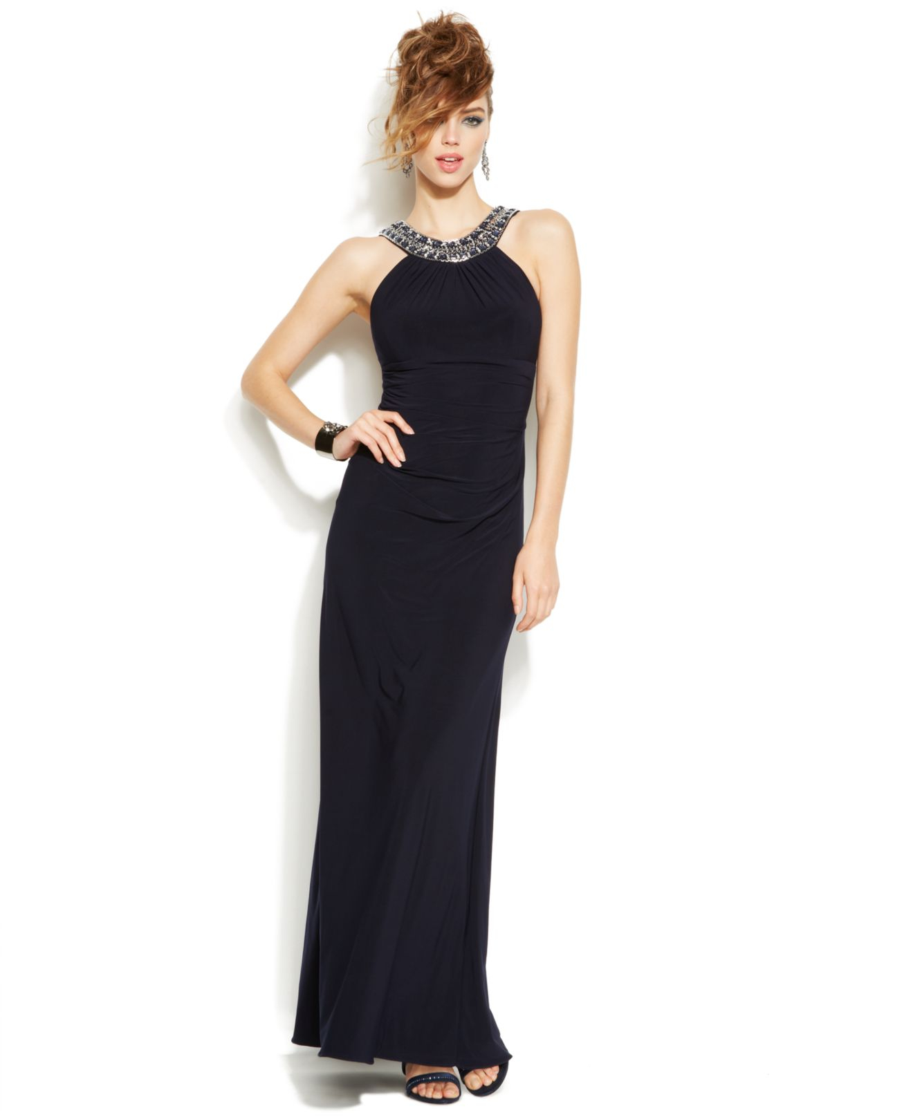 Dresses For Special Occasions Canada: Xscape Bead-trim Ruched Halter Gown In Blue
