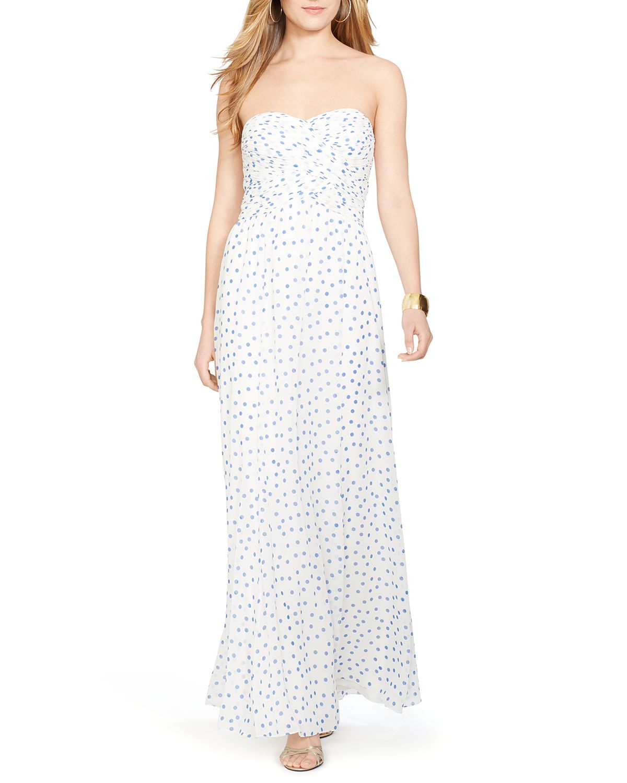 161cb329a27c Lyst - Ralph Lauren Lauren Polka Dot Chiffon Gown - Bloomingdale s ...