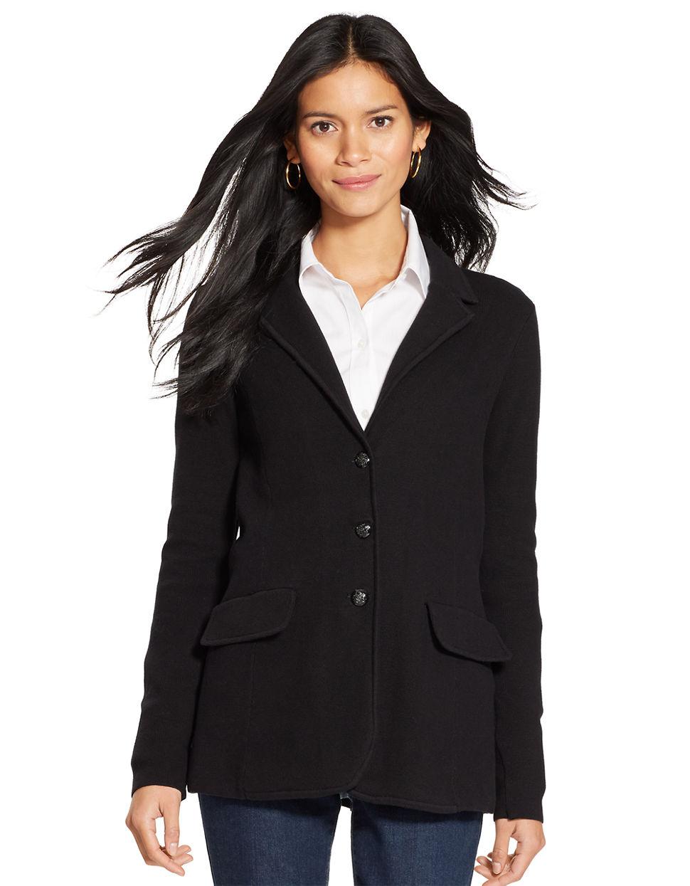 Lauren by ralph lauren Cotton Sweater Blazer in Black - Save 6% | Lyst