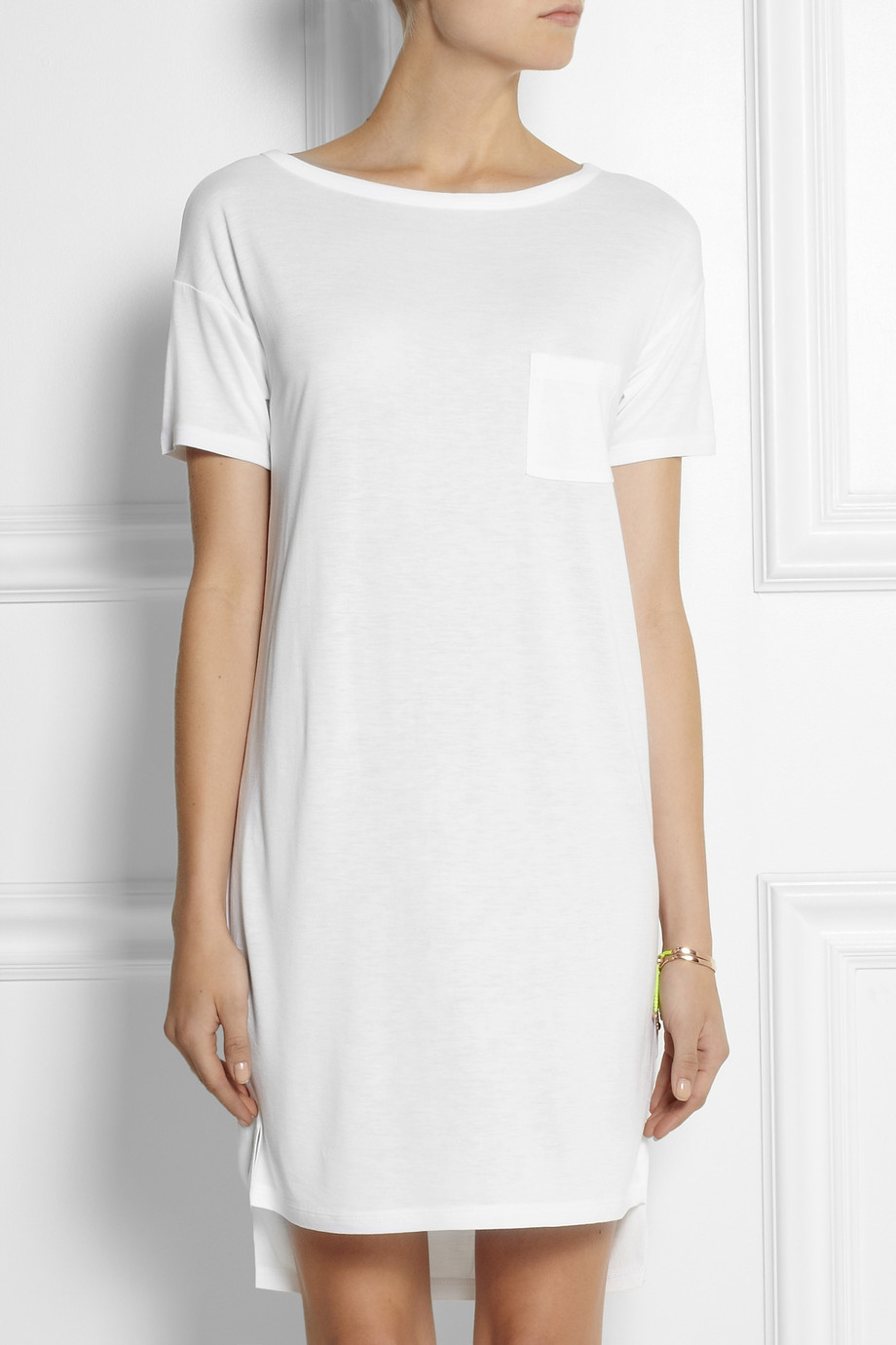T by alexander wang jersey t shirt dress in white lyst for Dressy white t shirt