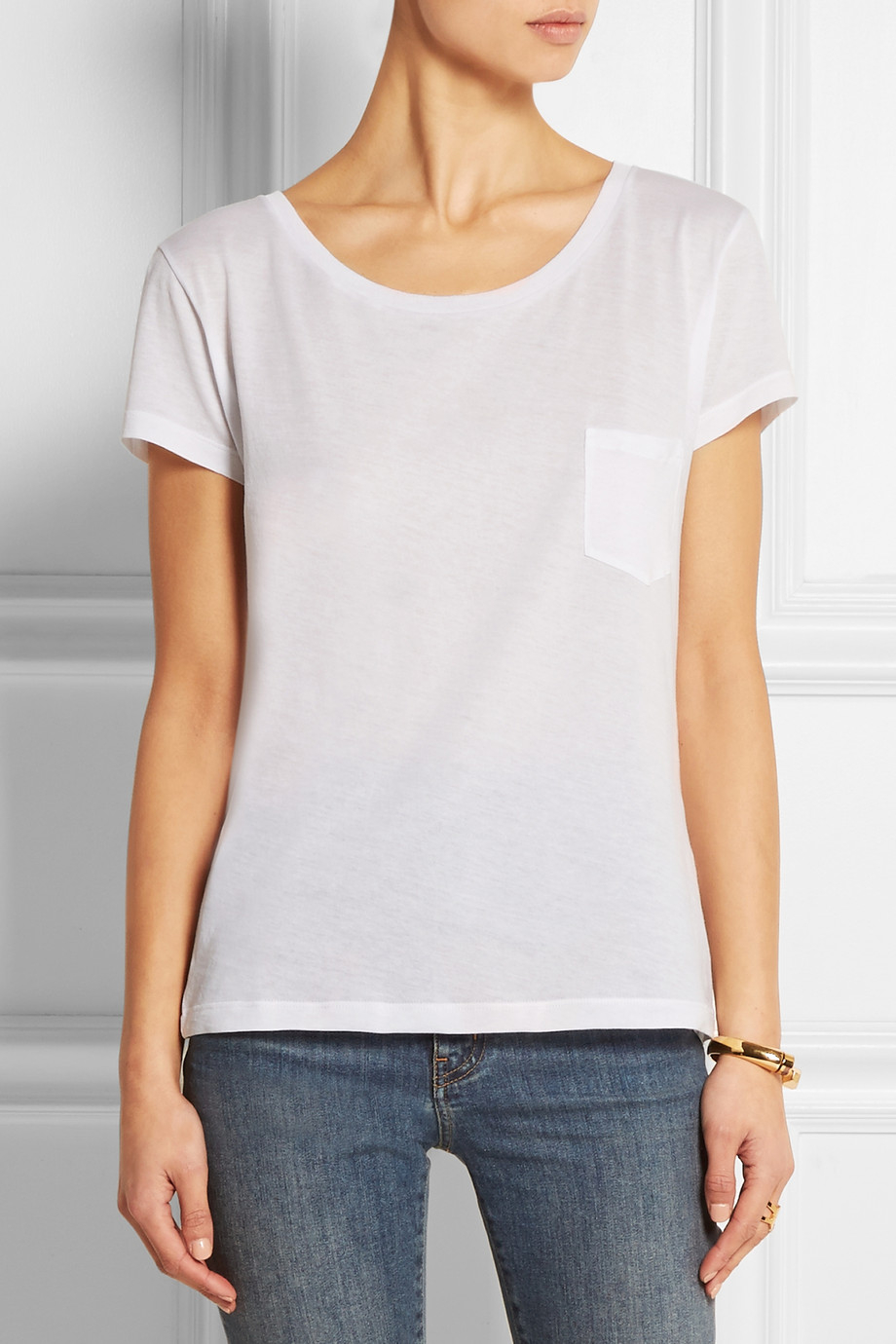 lyst saint laurent cotton jersey t shirt in white. Black Bedroom Furniture Sets. Home Design Ideas