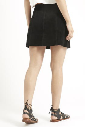 Topshop Petite Suede Button Front A-line Skirt in Black | Lyst