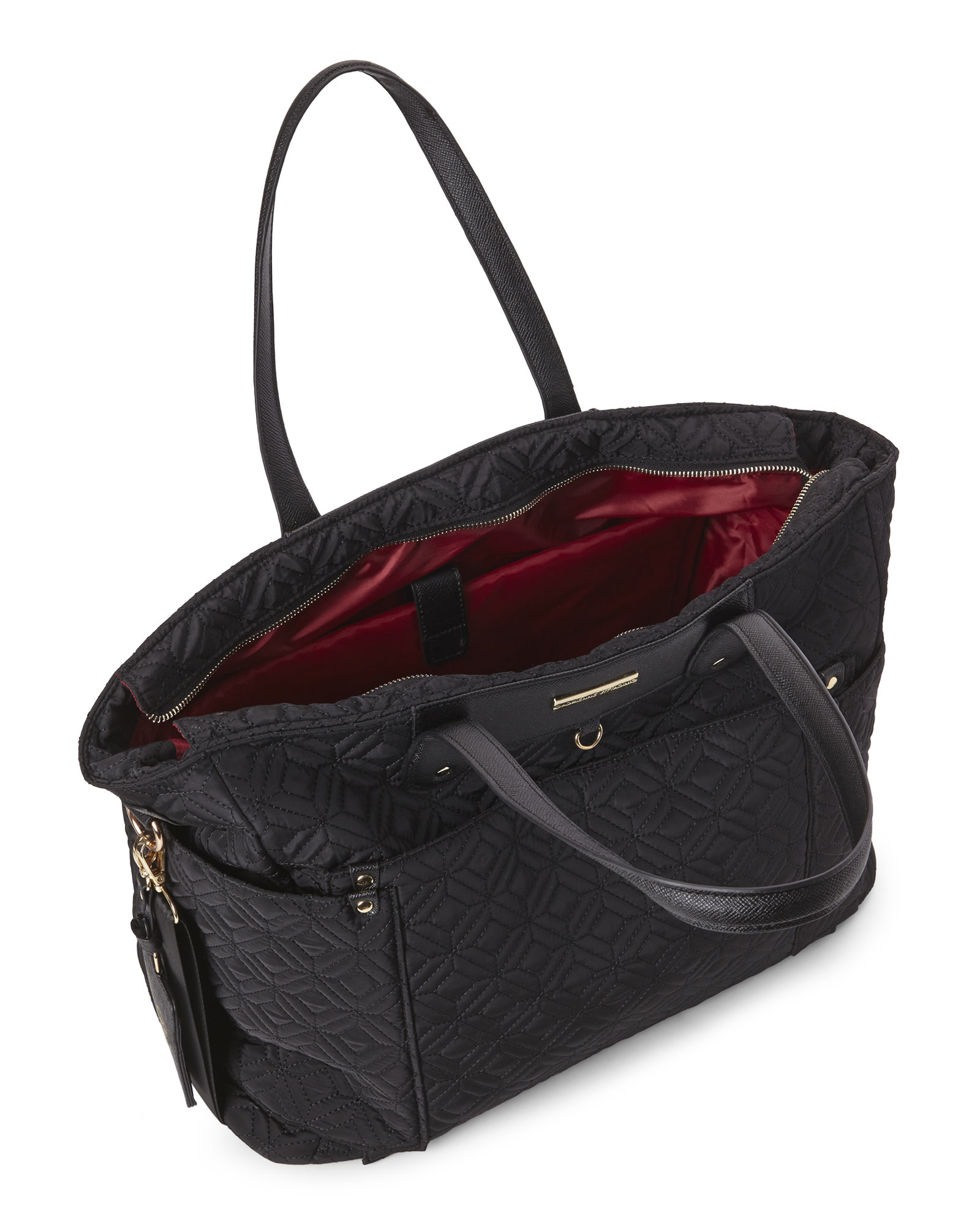 Adrienne Vittadini Black Quilted Nylon Tote In Black Lyst