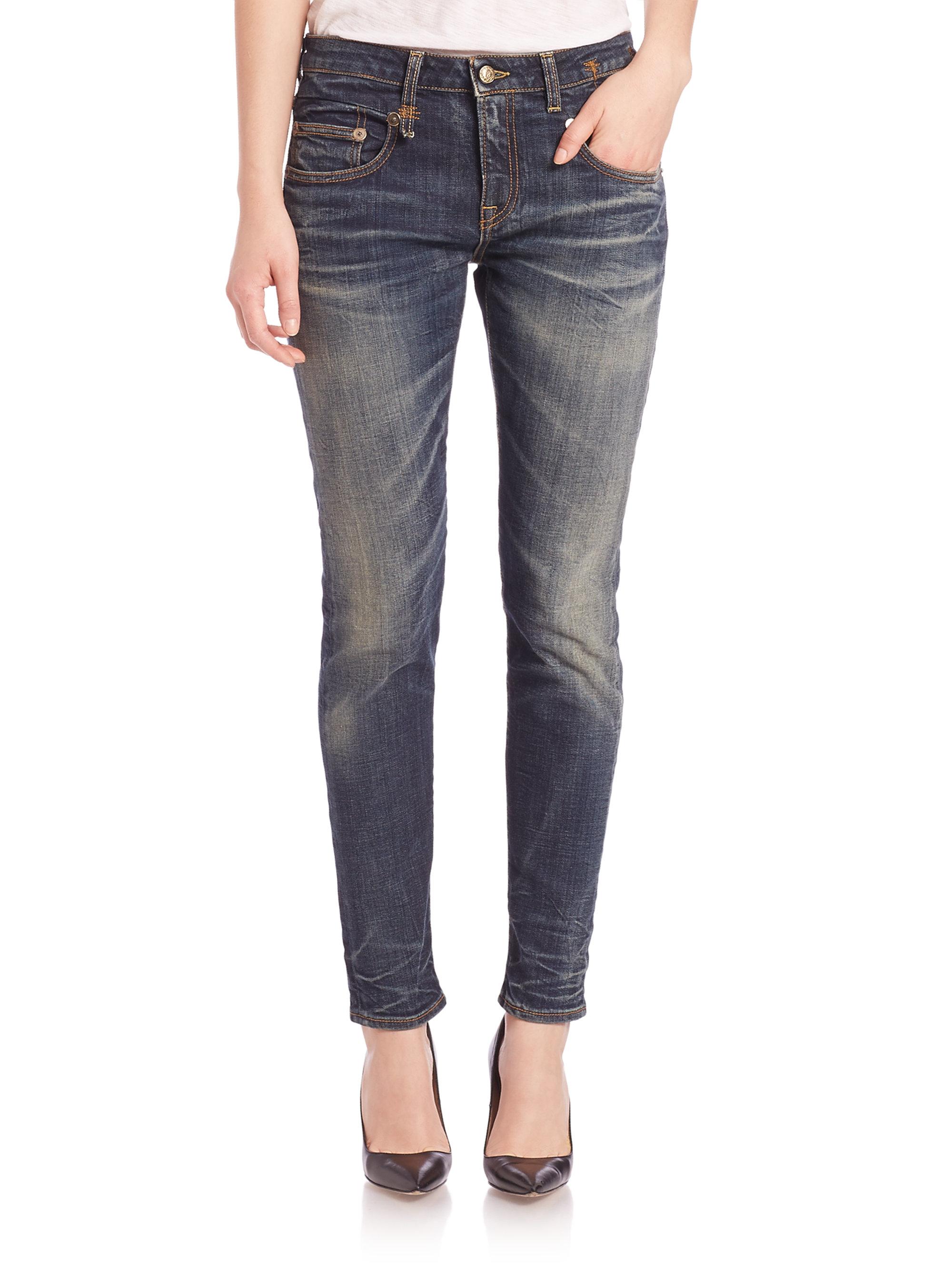 0958ea368 R13 Medium Blue Faded Boy Skinny Jeans in Blue - Lyst
