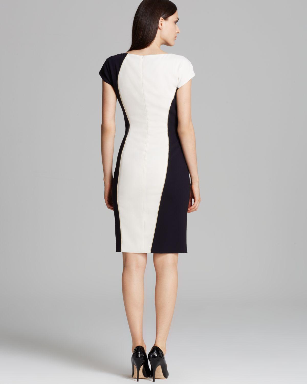 ESCADA Dress Short Sleeve Color Block Illusion Dress in ...