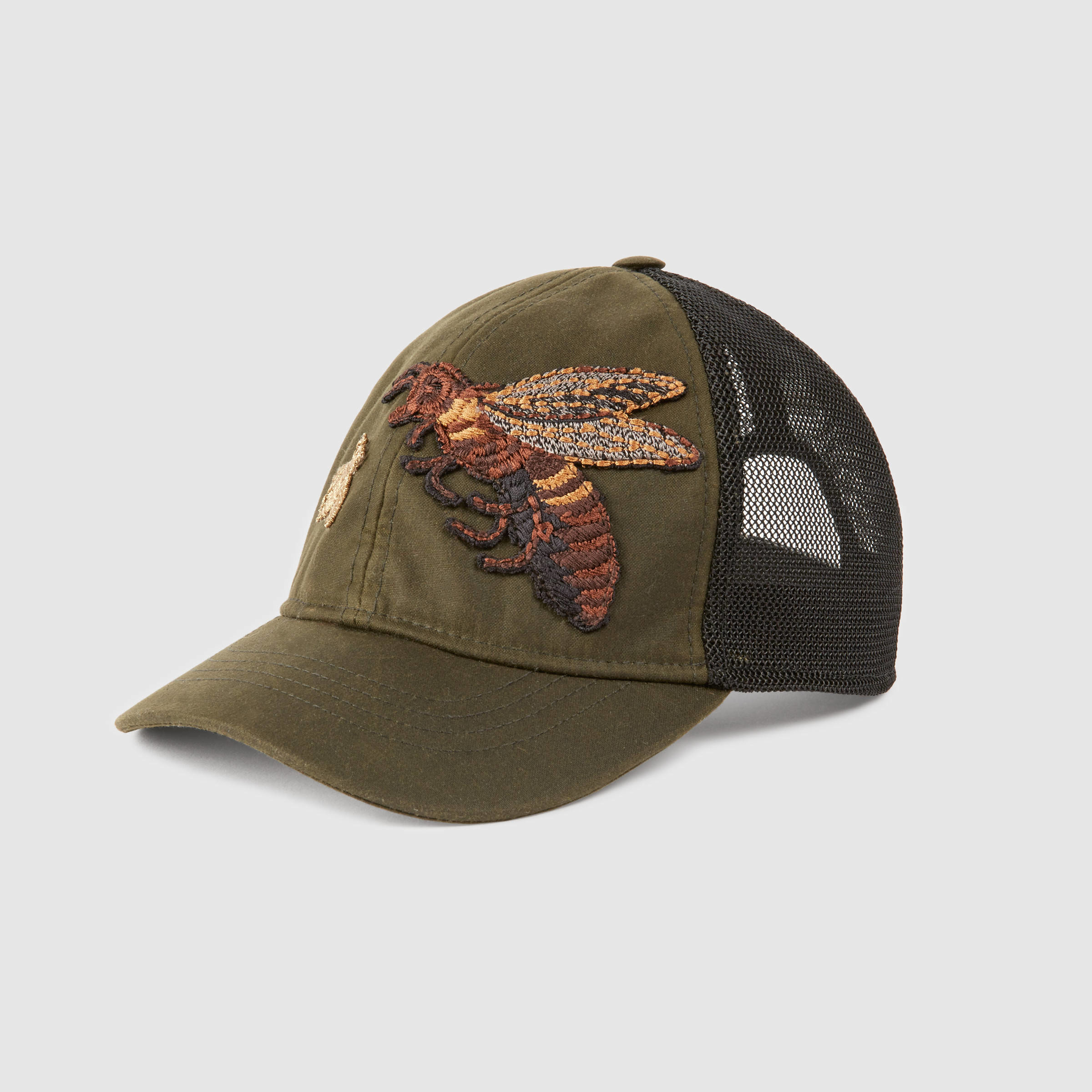 Gucci Hats For Men: Gucci Canvas Hat With Bee Embroidery In Black For Men