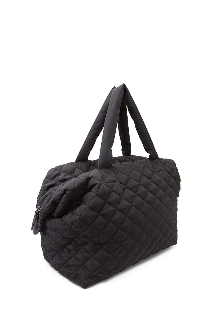 Lyst Forever 21 Quilted Weekender In Black