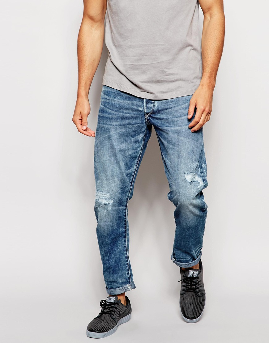 f79e620feff G-Star RAW For The Oceans Jeans Type C 3d Tapered Light Aged Destroy ...