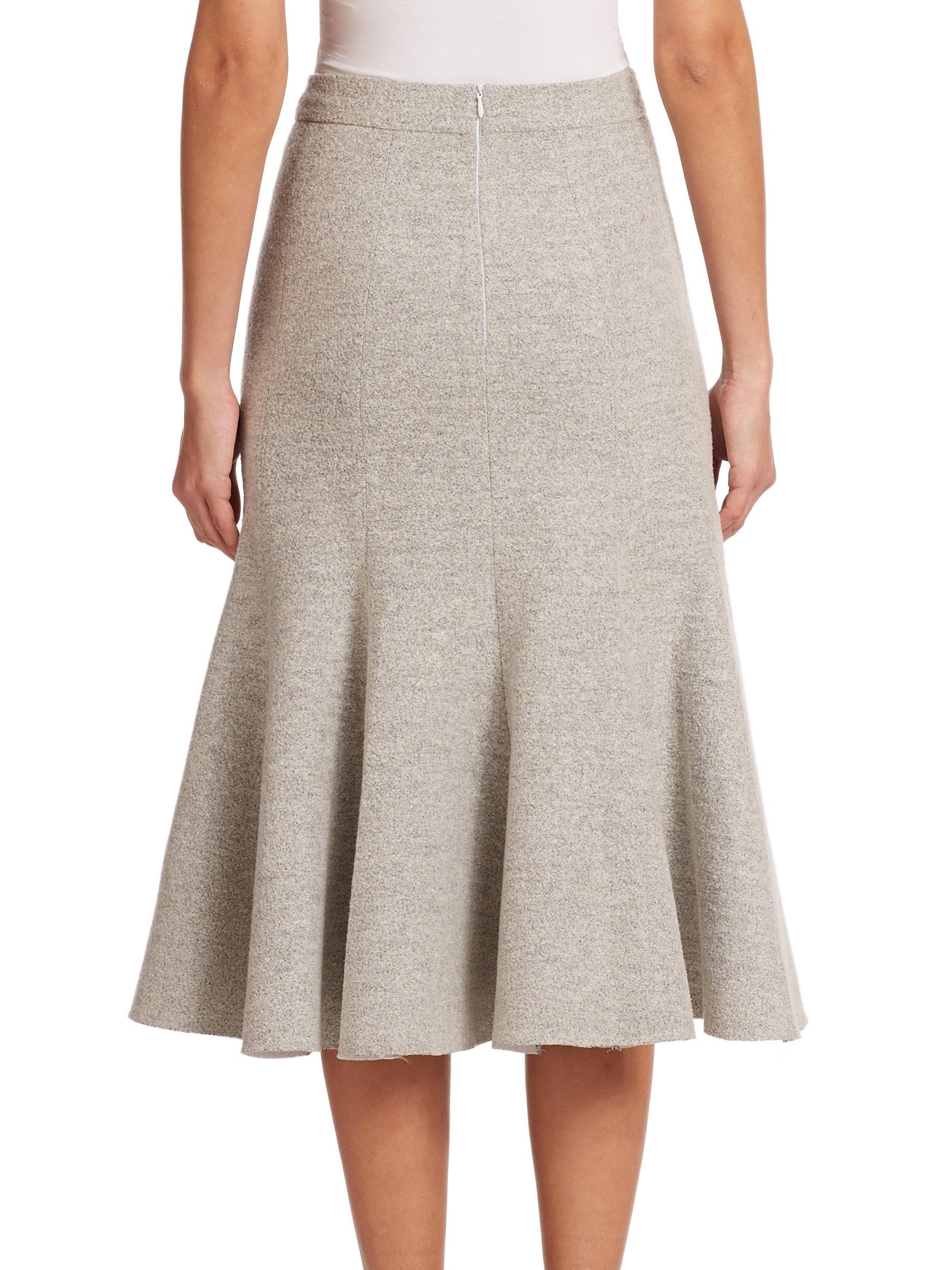 nicholas pleated stretch wool skirt in lyst