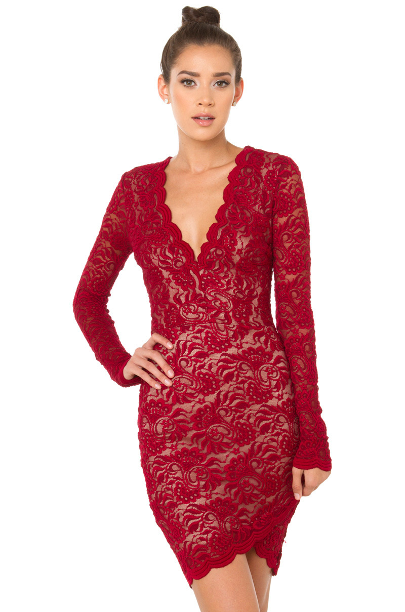 Akira Black Label For The Cure Lace Dress Burgundy In