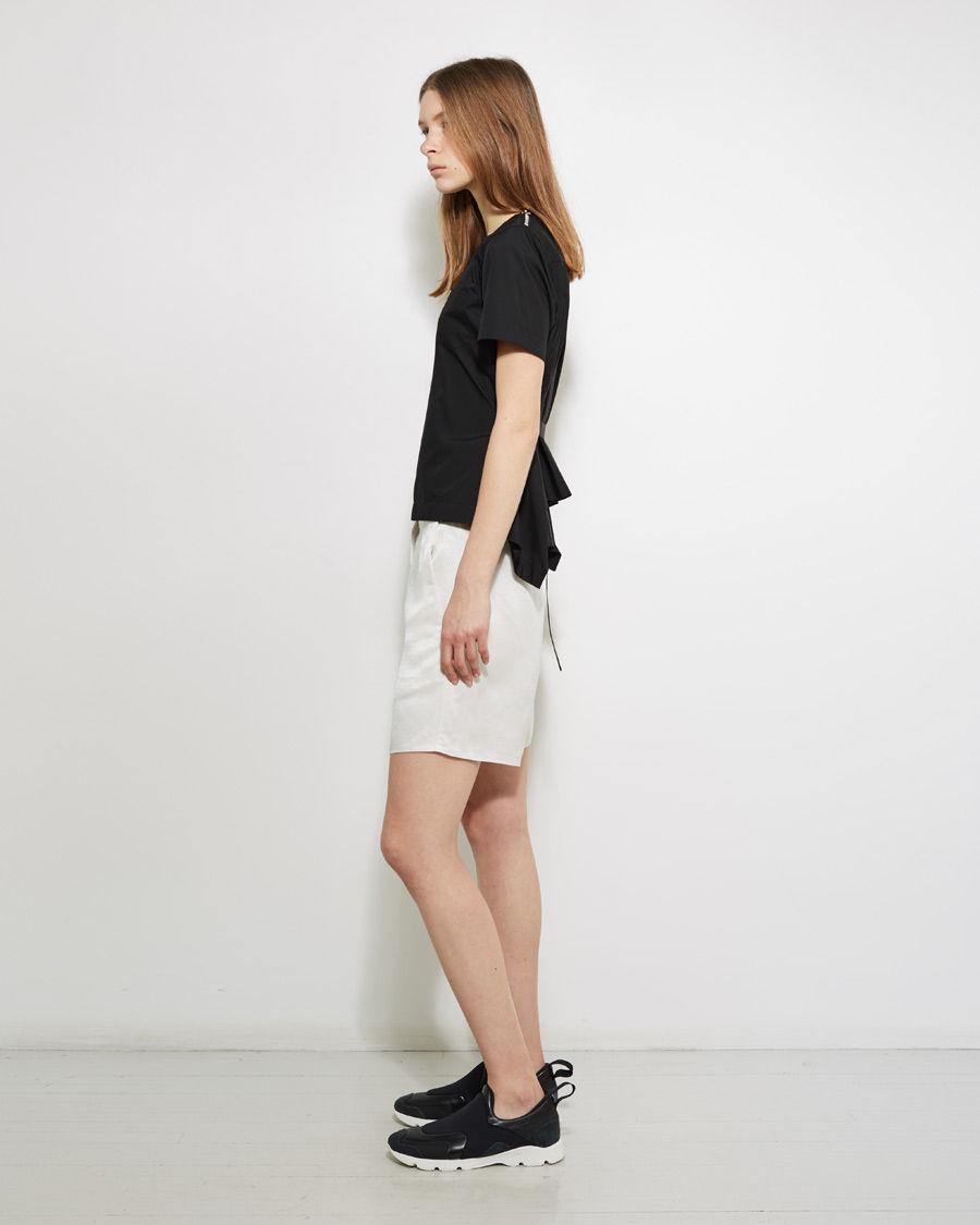 Mm6 by maison martin margiela linen trouser short in white for 10 moulmein rise la maison