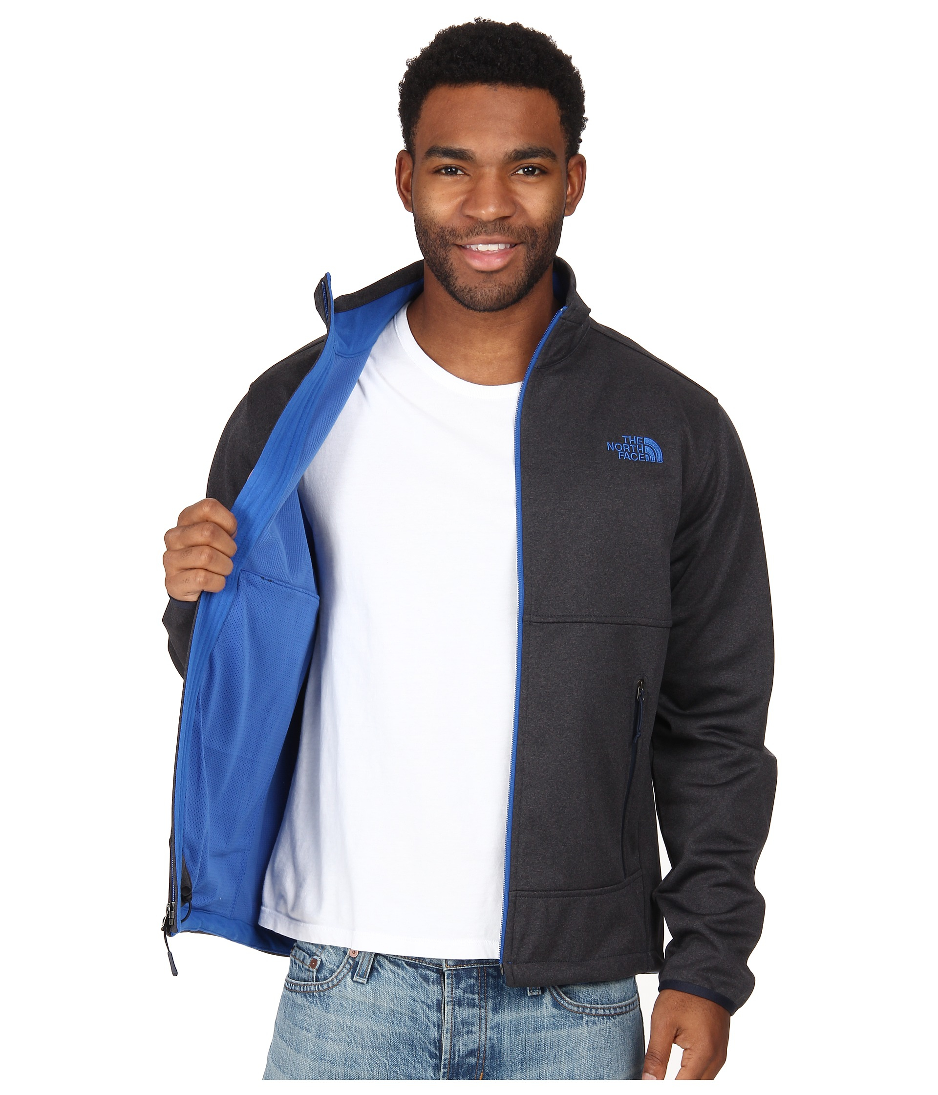 b7f45a7962a5 ... north face apex bionic jacket outer space blue yellow ...