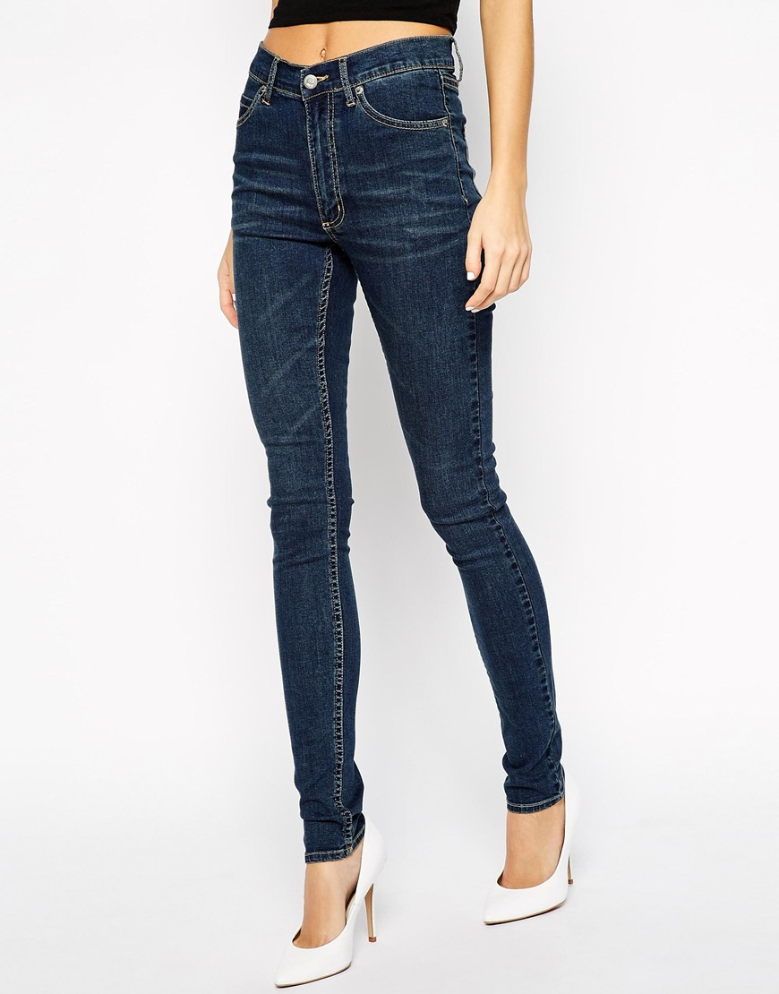 Celebrate your retro side with the tempting look of high waist jeans. Take a peek at our many available high rise jeans. Achieve the look with a ruffled top and platform strappy sandals.