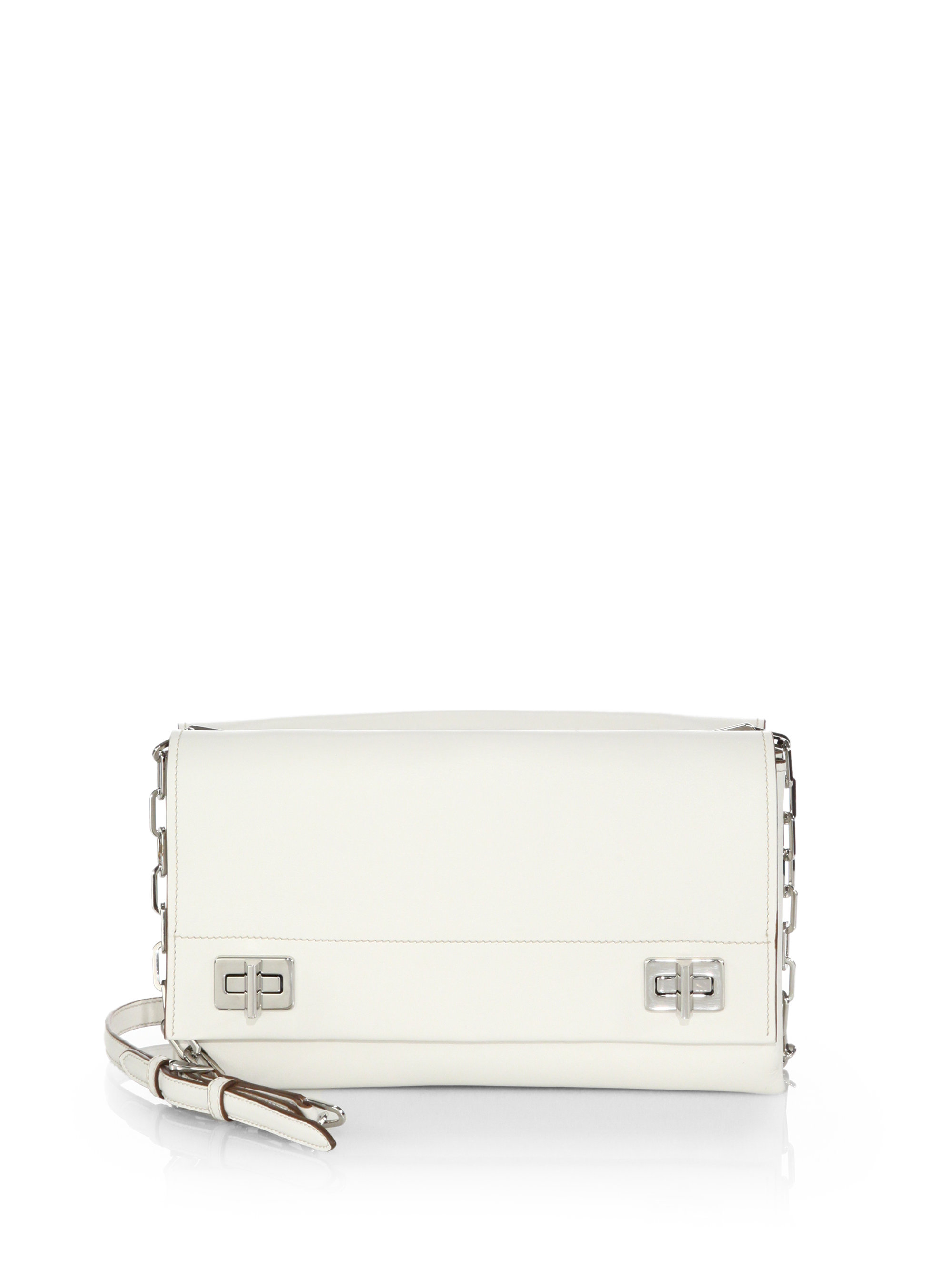 Prada Lux Calf Double Shoulder Bag in White (BIANCO-WHITE) | Lyst - prada shoulder bag white