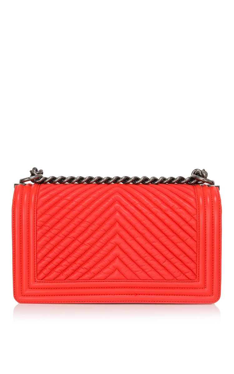 912012d0f5a4 Lyst - Madison Avenue Couture Chanel Orange Chevron Medium Boy Bag ...