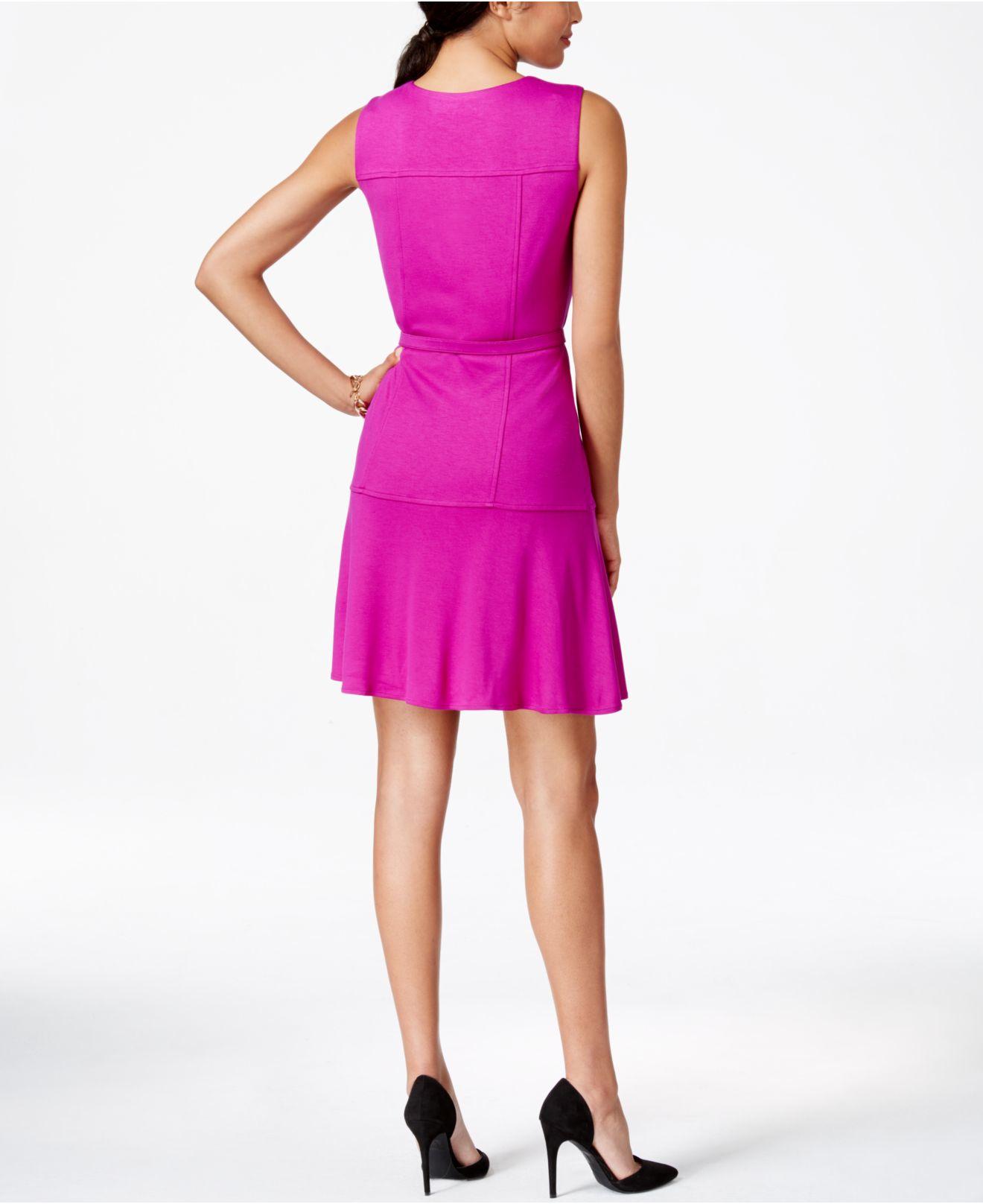 nine west sleeveless belted a line dress in purple lyst