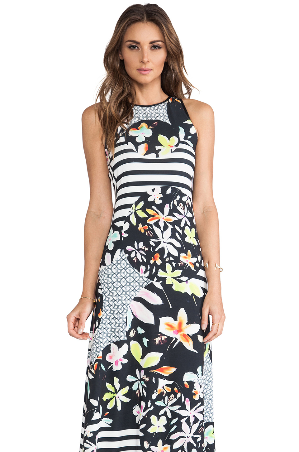 Lyst Clover Canyon Floral Discs Maxi Dress In Black