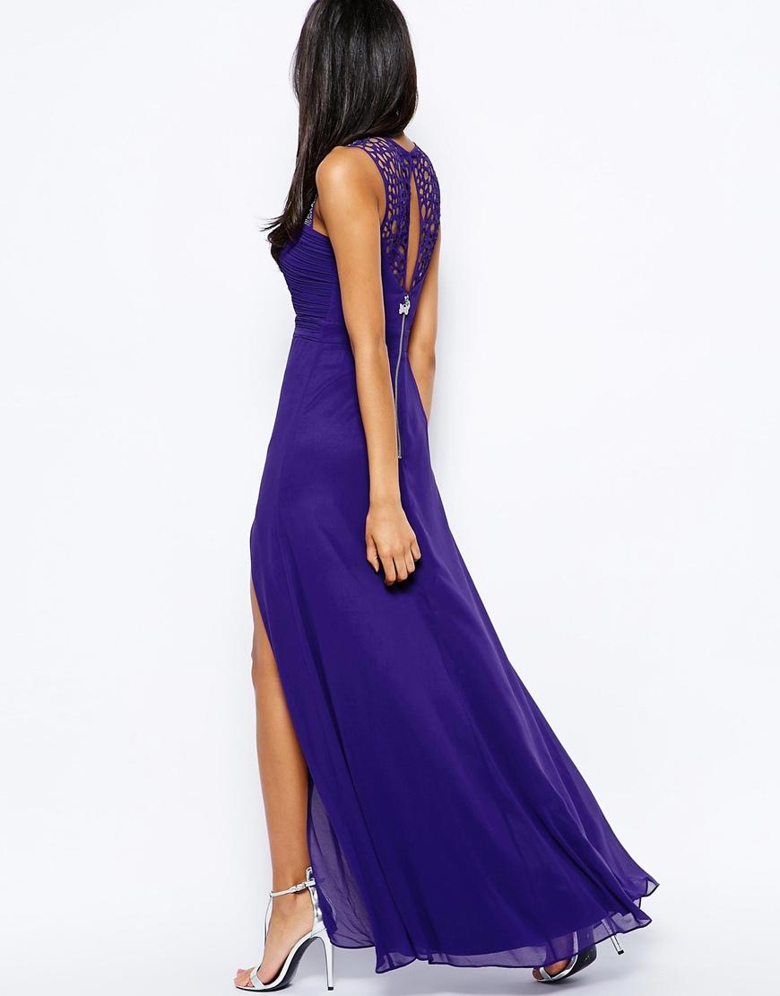 Lyst - Lipsy Vip Maxi Dress With Beaded Yoke in Purple