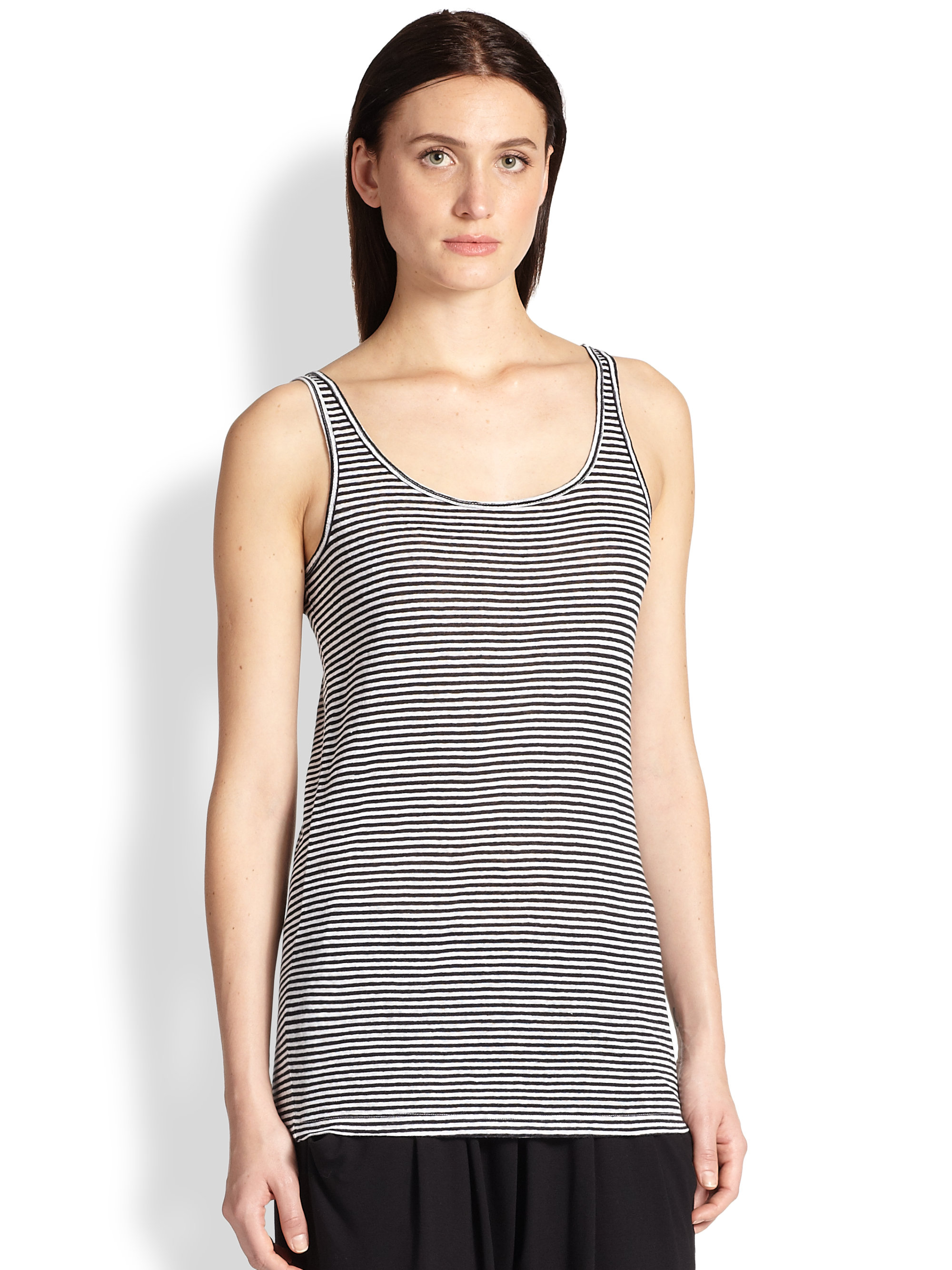 27716165d76 Eileen Fisher Striped Organic Linen Tank in Black - Lyst