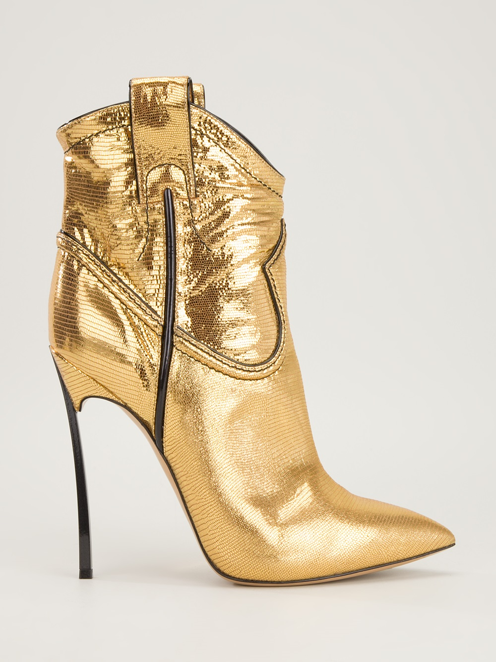 casadei stiletto heel cowboy boot in gold metallic lyst. Black Bedroom Furniture Sets. Home Design Ideas
