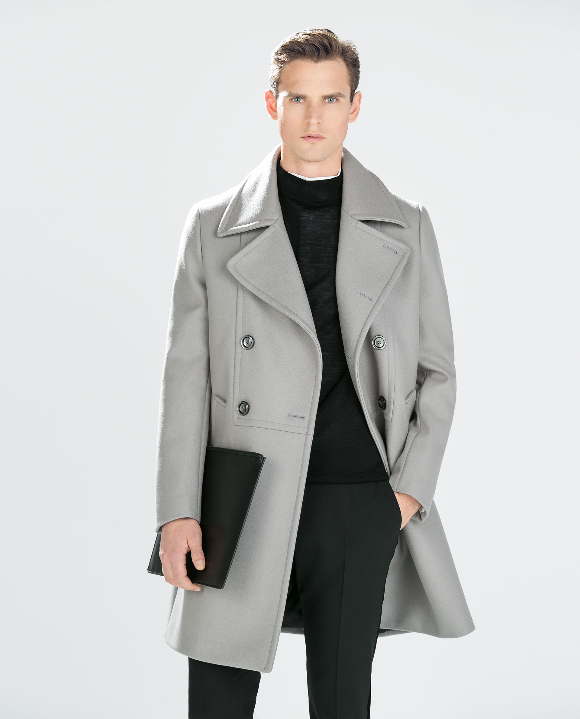 Zara Light Grey Coat in Gray for Men | Lyst