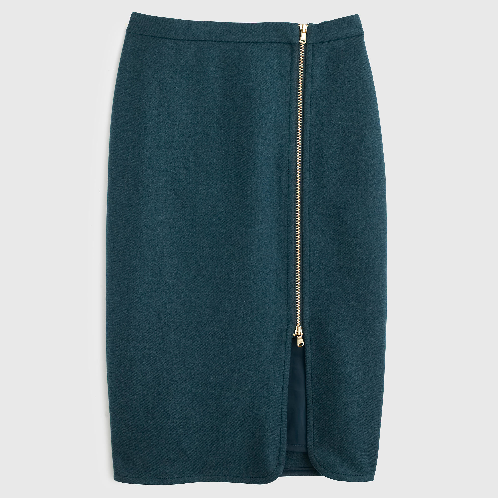 j crew wool zip pencil skirt in teal forest green