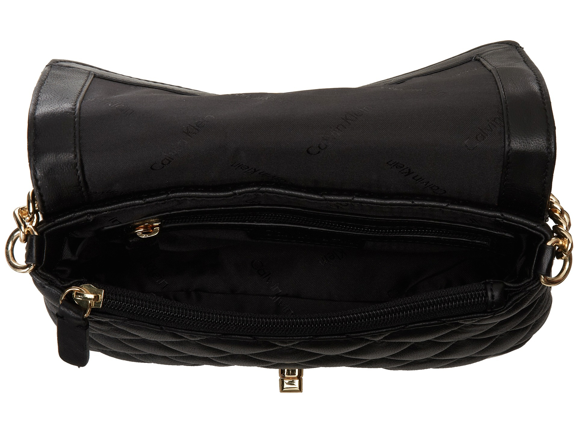 Calvin Klein Quilted Lamb Leather Crossbody In Black Gold